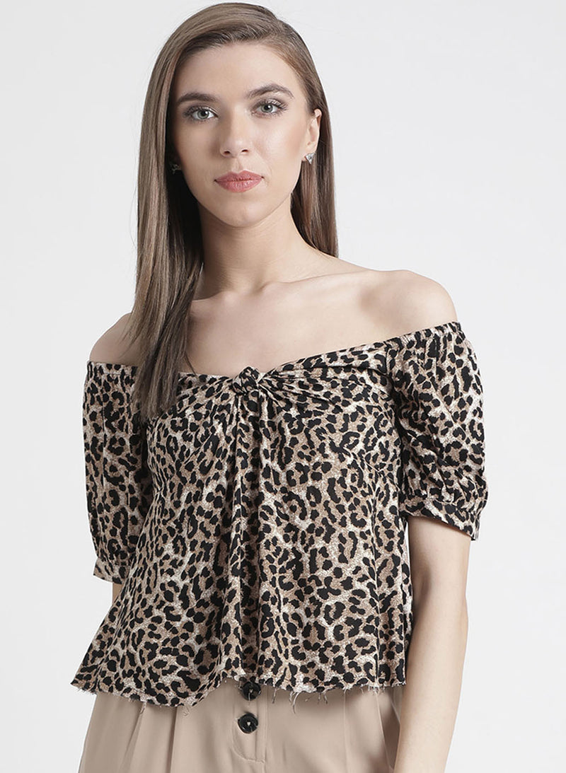 Leopard Print Off Shoulder Top