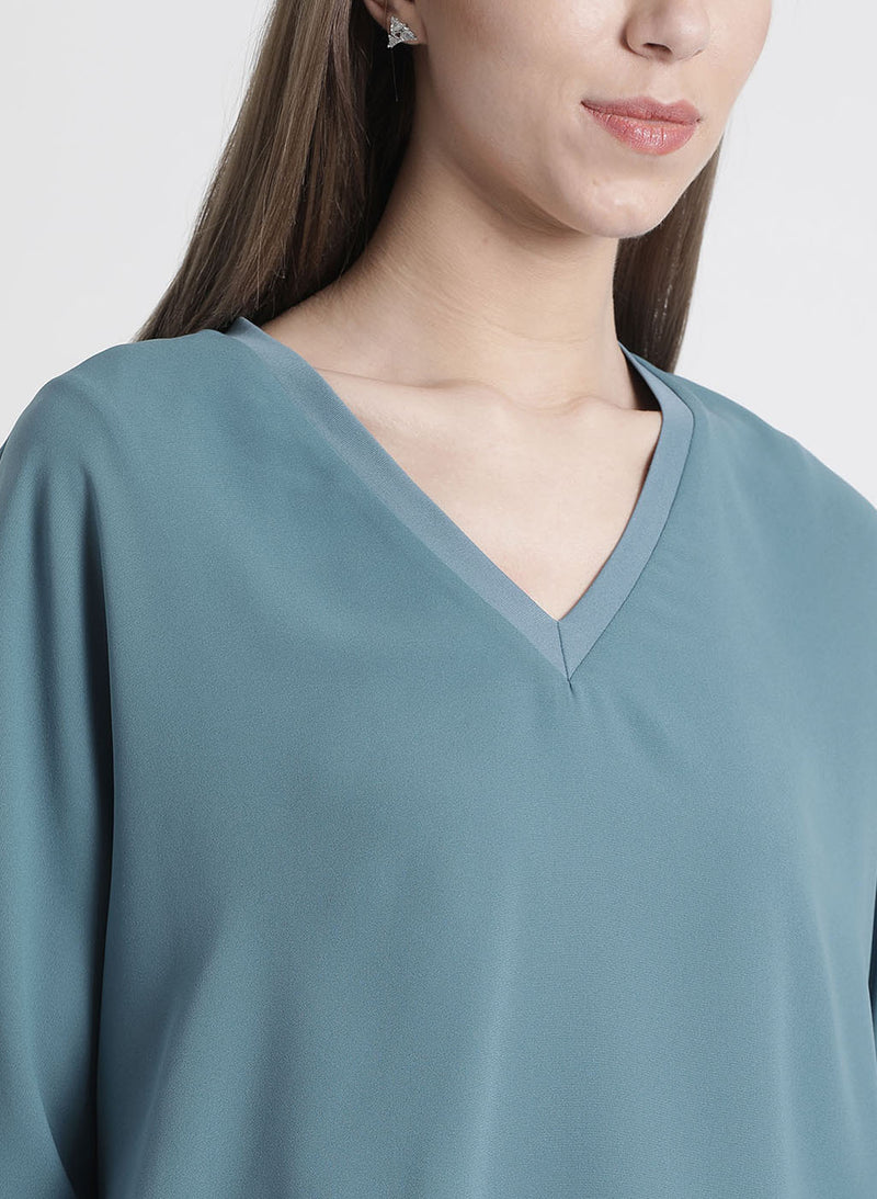 Blue Solid Baggy Top