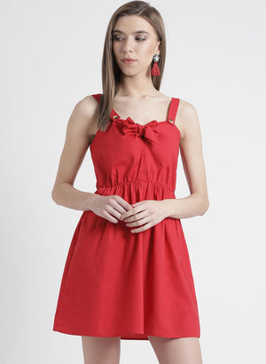 Red Colored Mini Dress With Bow Detailing