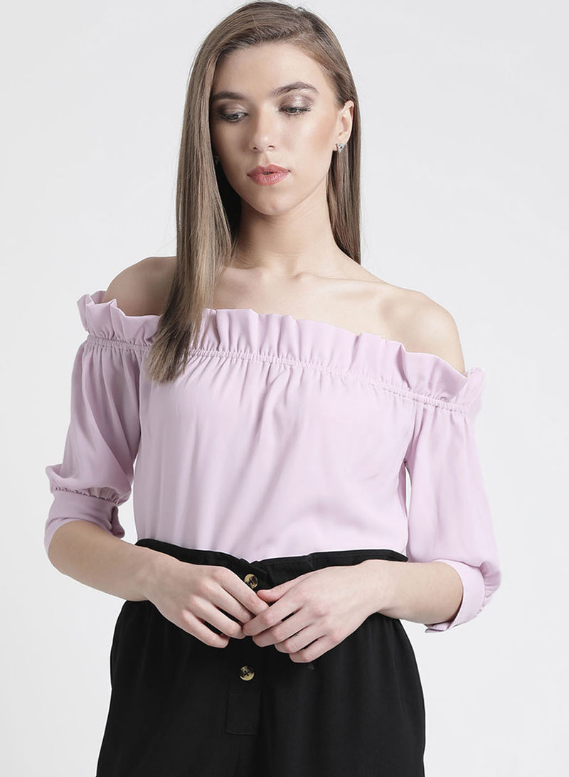 Orchid Colored Off Shoulder Top