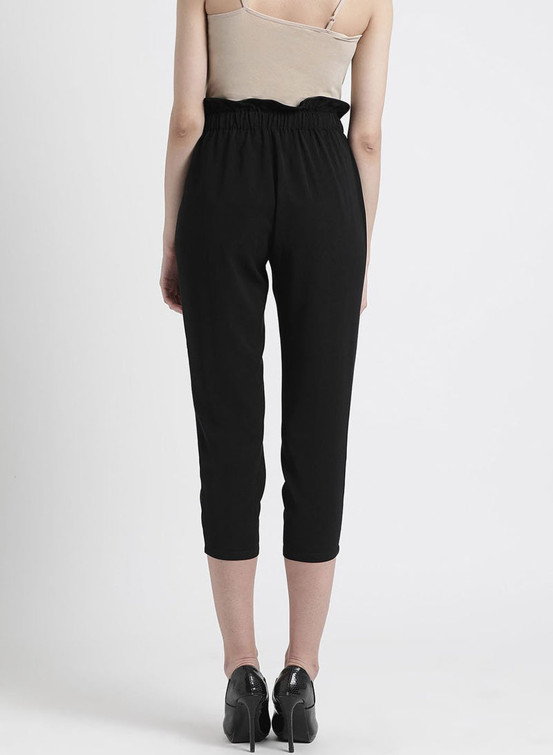 Black Solid Trouser With Button Detailing