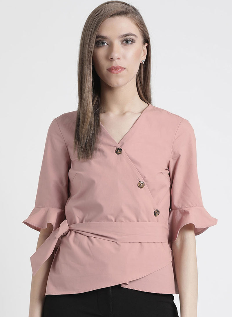 Fitted Top With Button And Tie Up Detailing