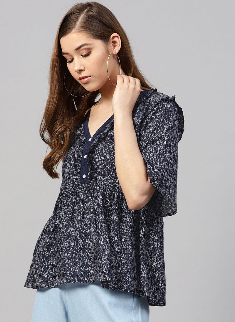 Polka Dot Top With Lace Detailing