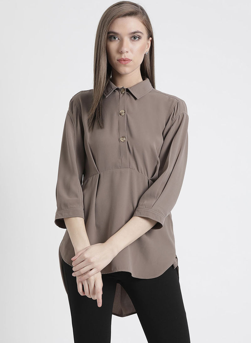 High-Low Solid Shirt