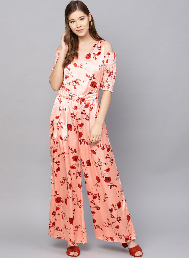 Printed Cold Shoulder Jumpsuit (Additional 20% OFF)