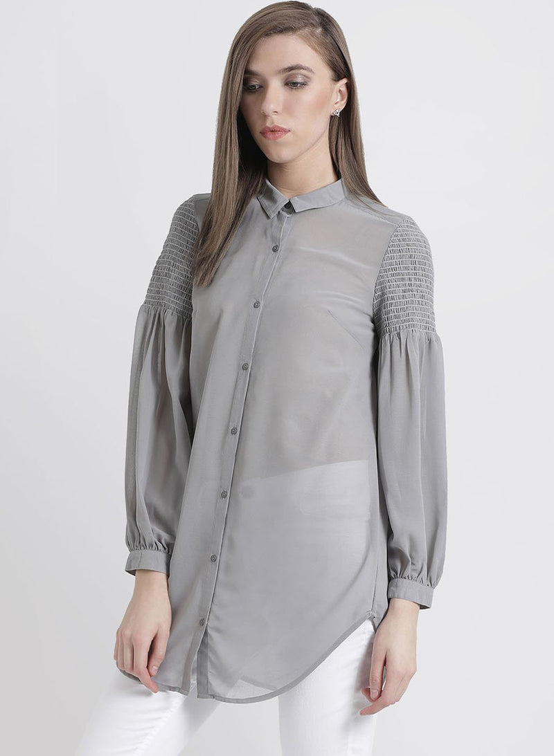 Grey Solid Shirt With Smocking At Sleeves