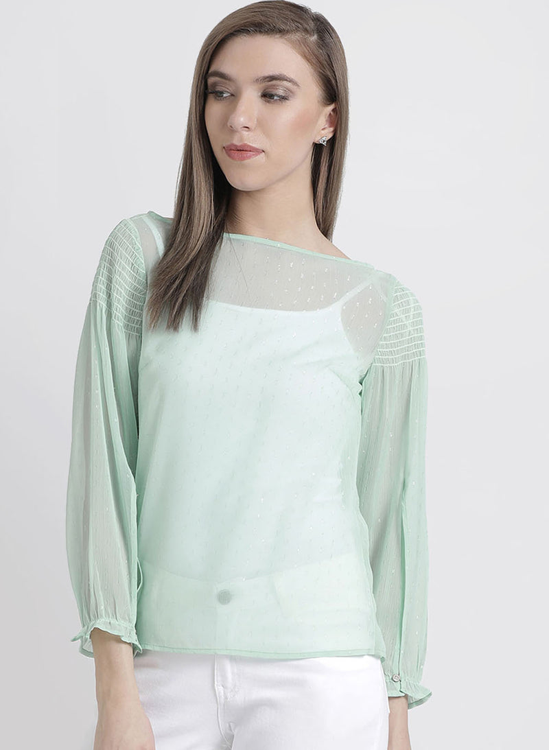 Solid Top With Smocking At Shoulder