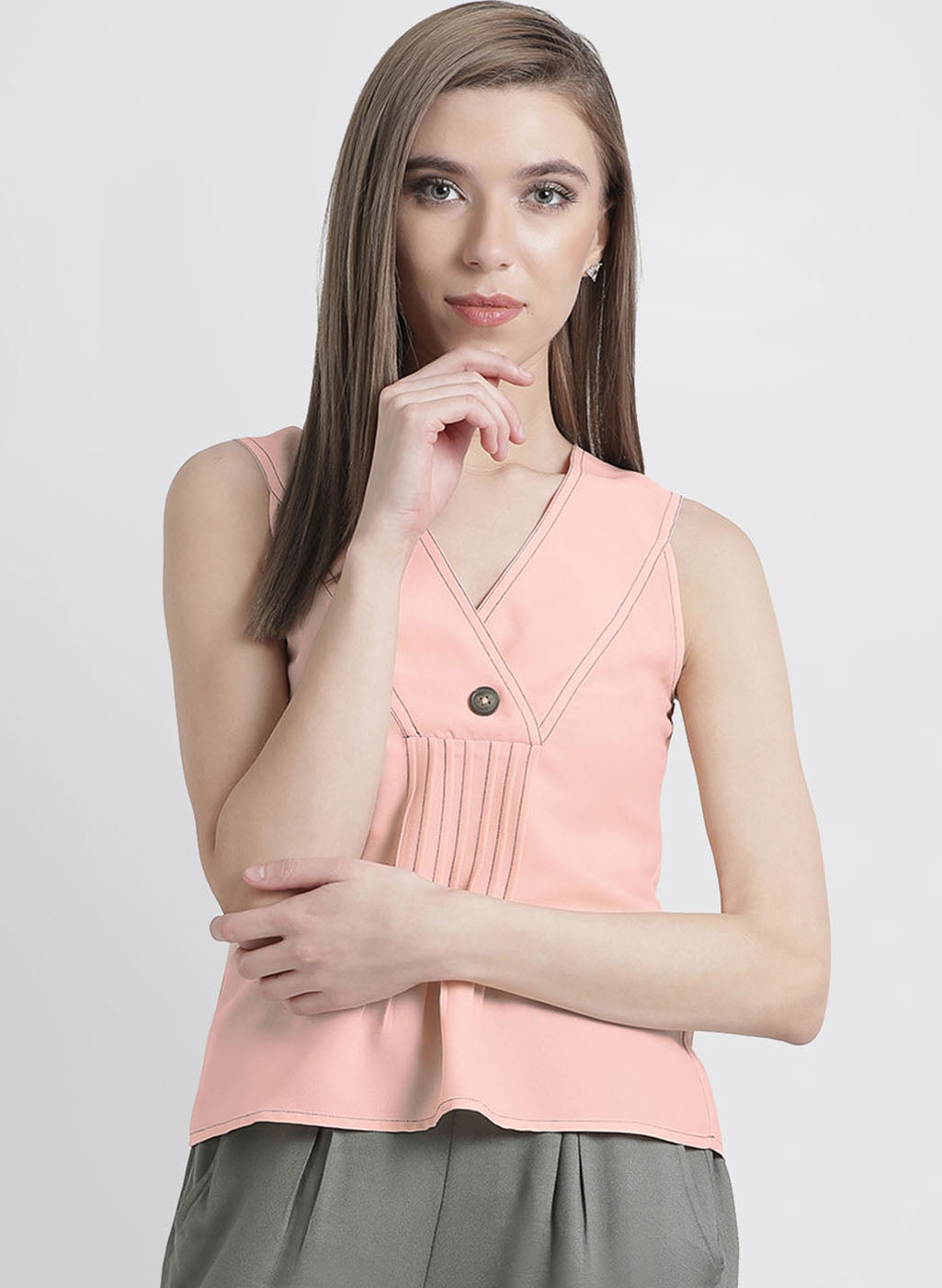 Sleeveless Top With Button Detailing