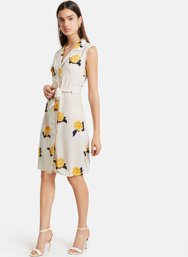 Printed Sleevless Shirt Dress (Additional 20% OFF)