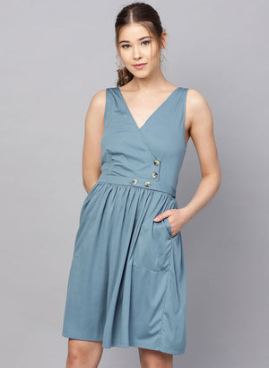 Sleeveless Midi Dress With Smocking At Back & Butt
