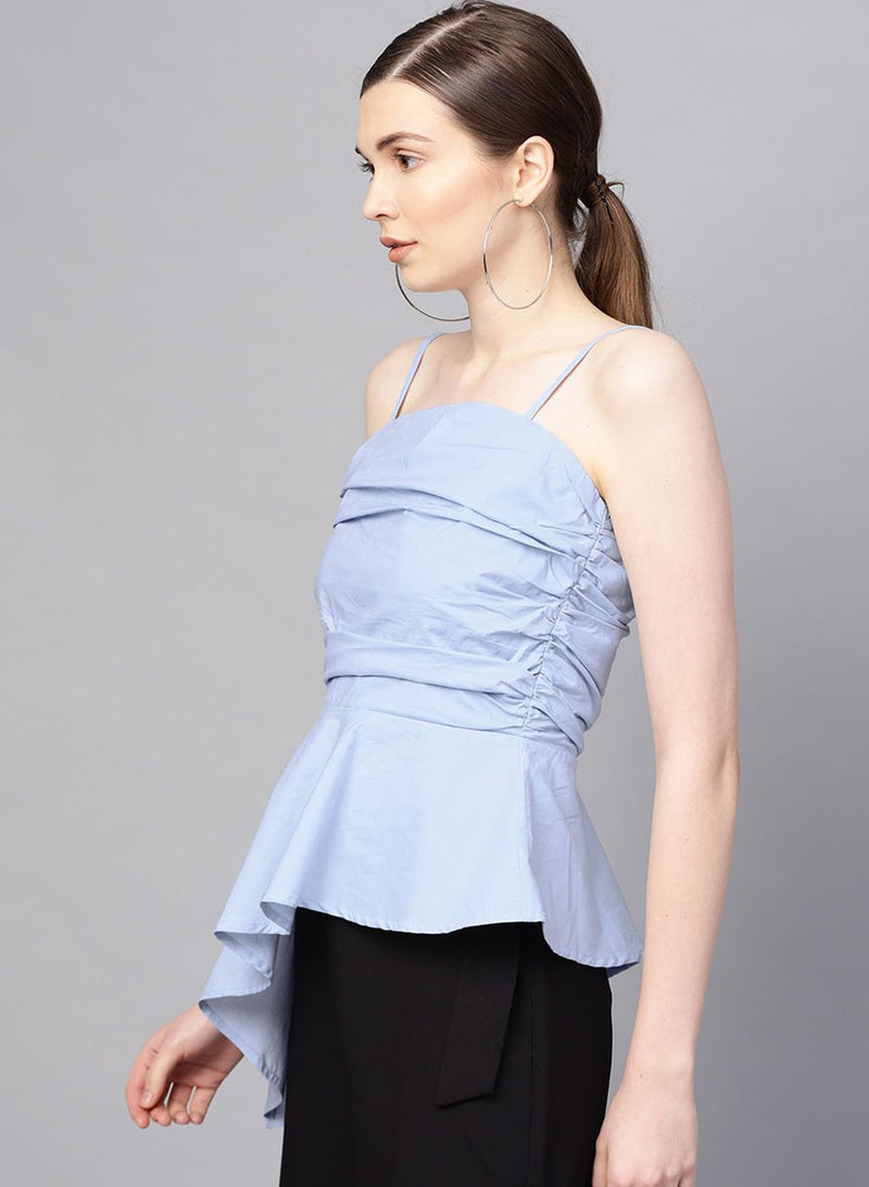 Strappy Top With Rushing At Top & Asymetric Hem