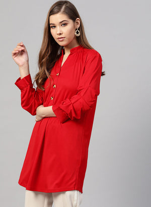 Mandrin Collar Tunic With Button In Front & Rushed
