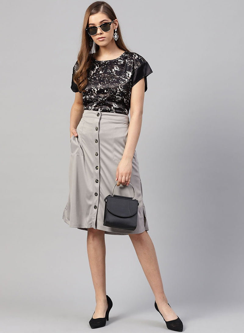 Skirt With Pocket & Button At Front (Buy 2 or more Get 20% Off)