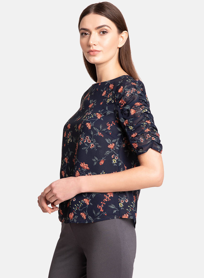 Printed Top With Ruched Sleeve (Additional 23% OFF)