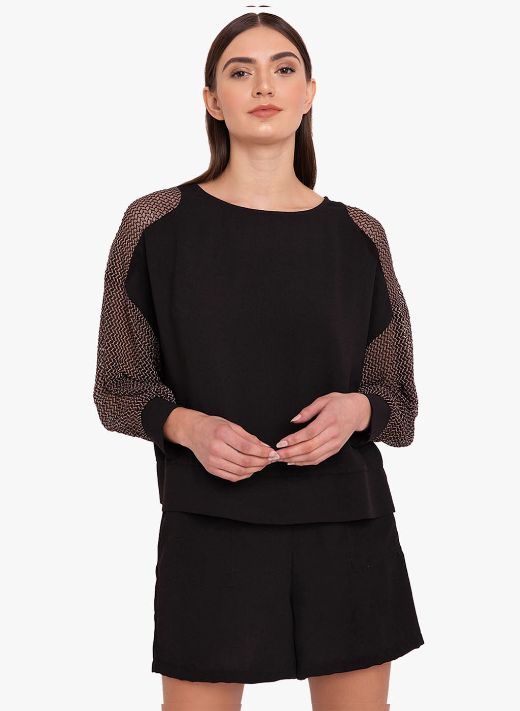 Stretch Mesh Sleeves Top (Additional 23% OFF)