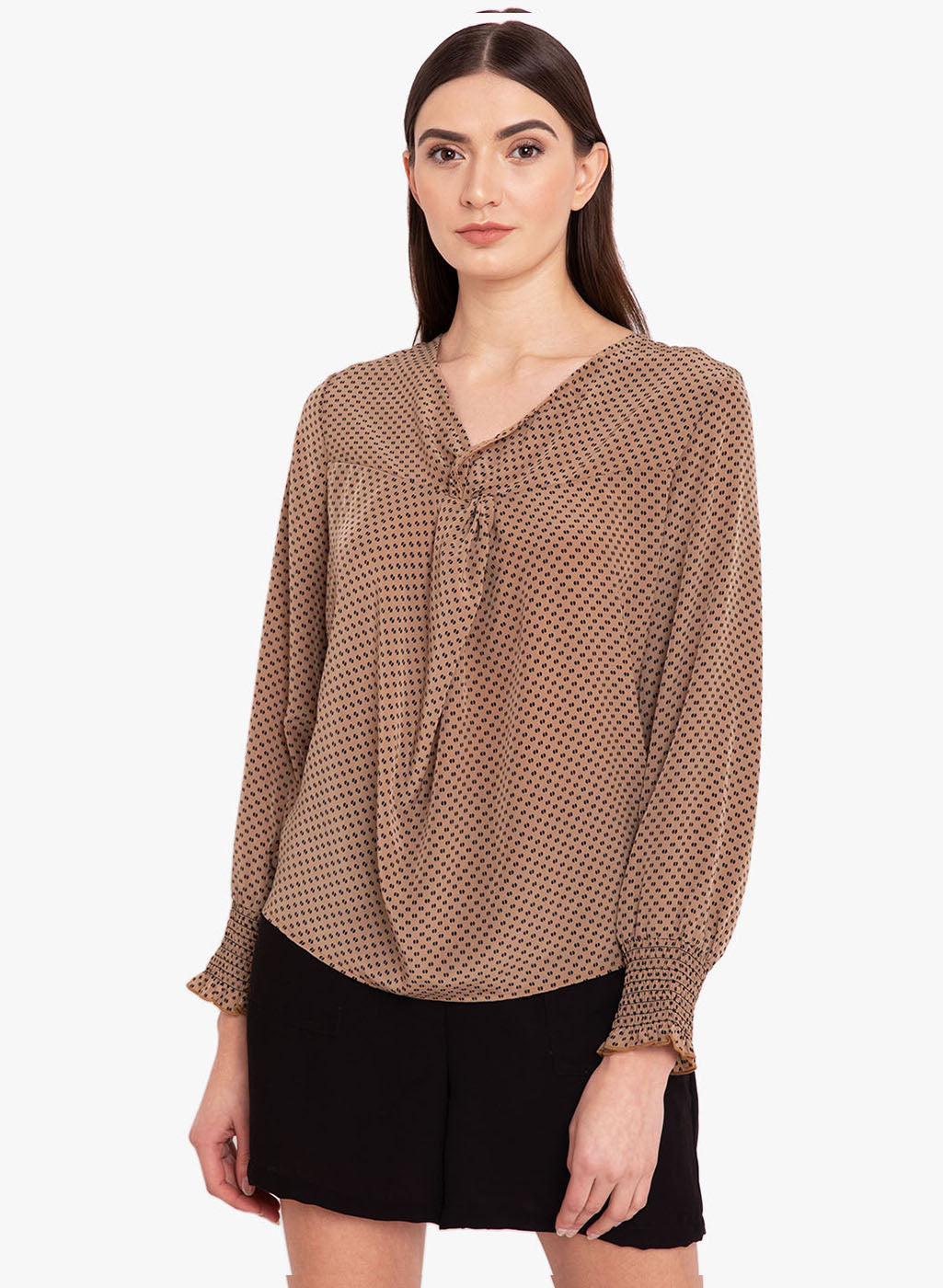 Knot Detail Ditsy Printed Top