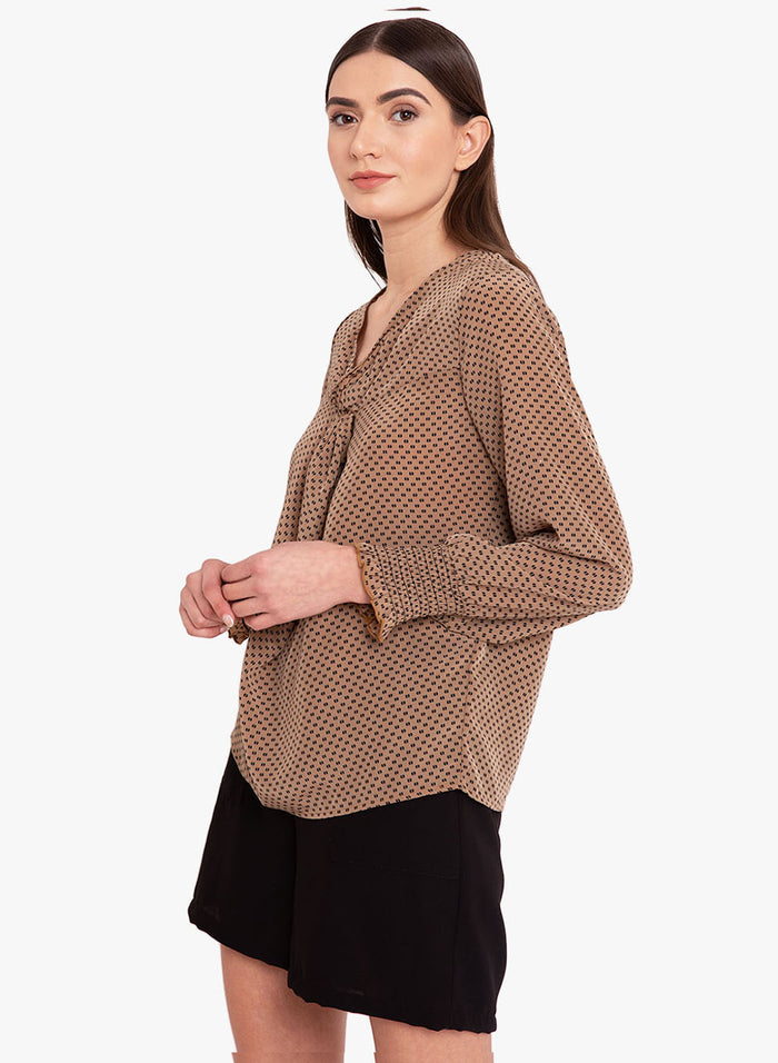 Knot Detail Ditsy Printed Top (Additional 23% OFF)