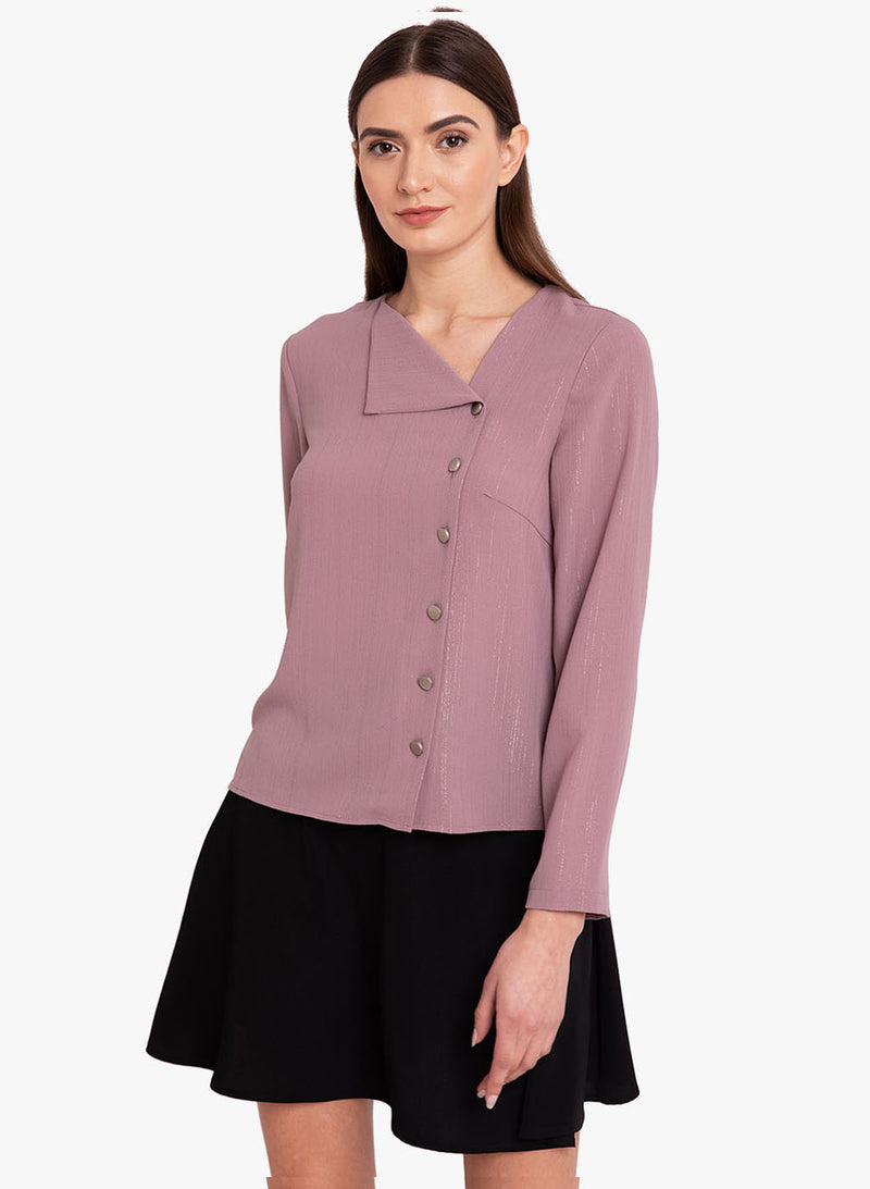 Lurex Front Button Detail Shirt (Additional 20% OFF)