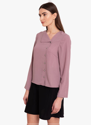 Lurex Front Button Detail Shirt