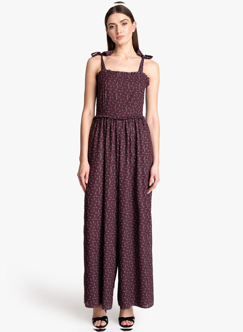 Printed Jumpsuit With Tie-Up And Smocking (Additional 20% OFF)