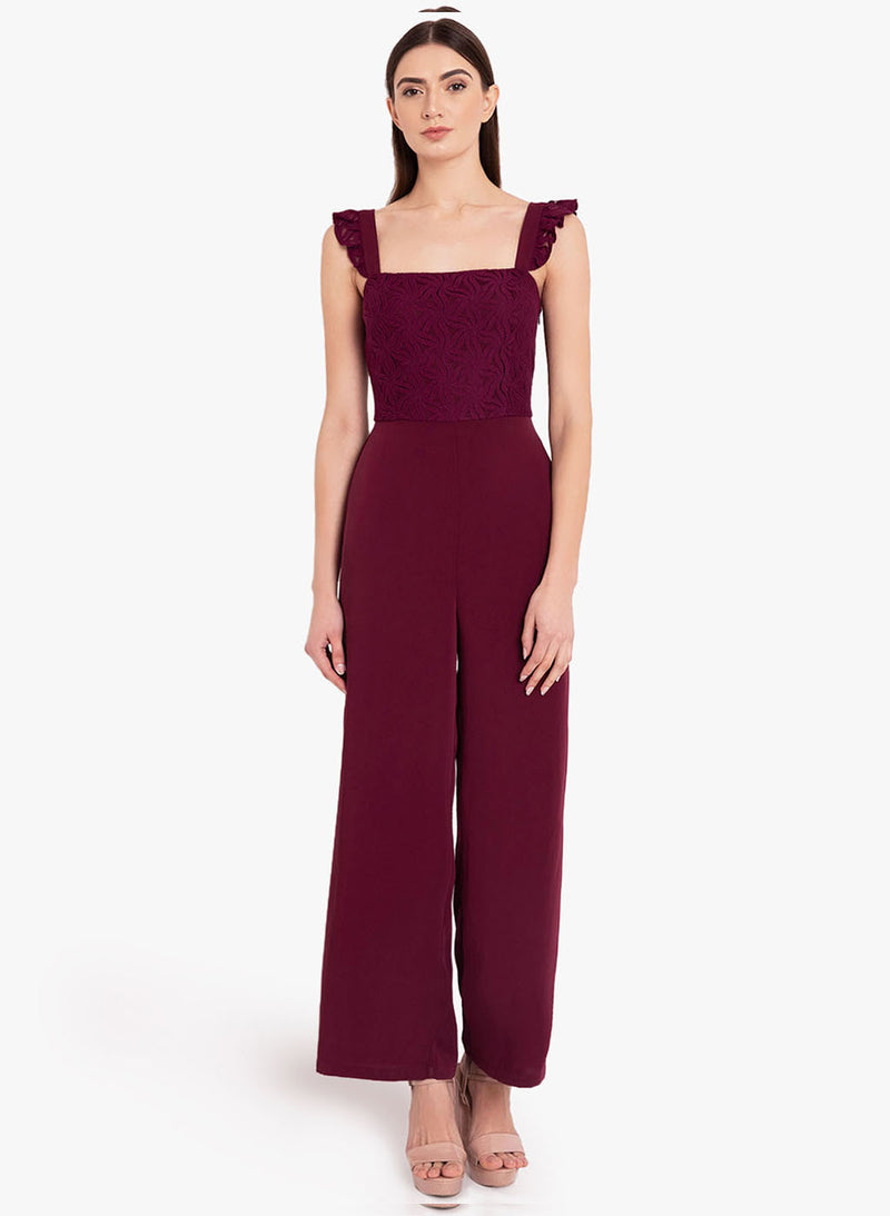 Wave Lace Smocking Jumpsuit