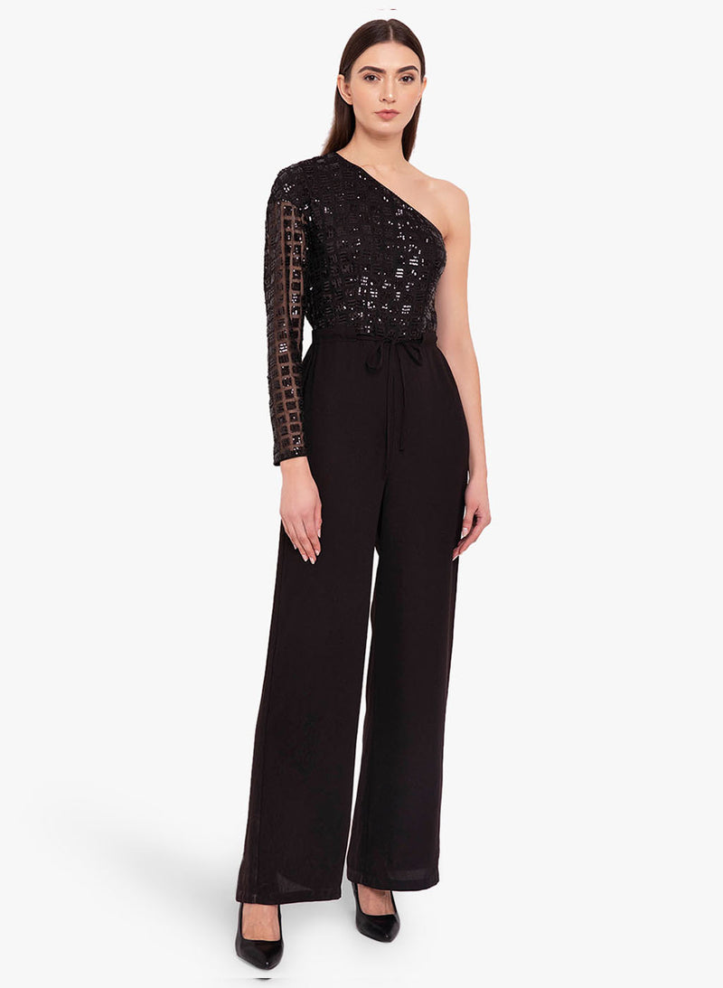 One Shoulder Sequin Jumpsuit