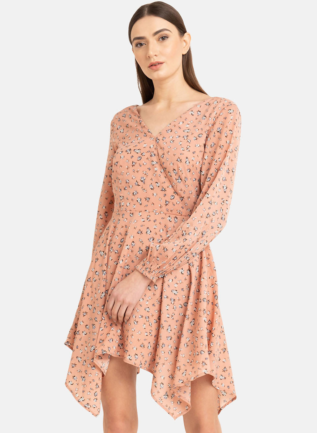 Asymmetric Hem Printed Mini Dress