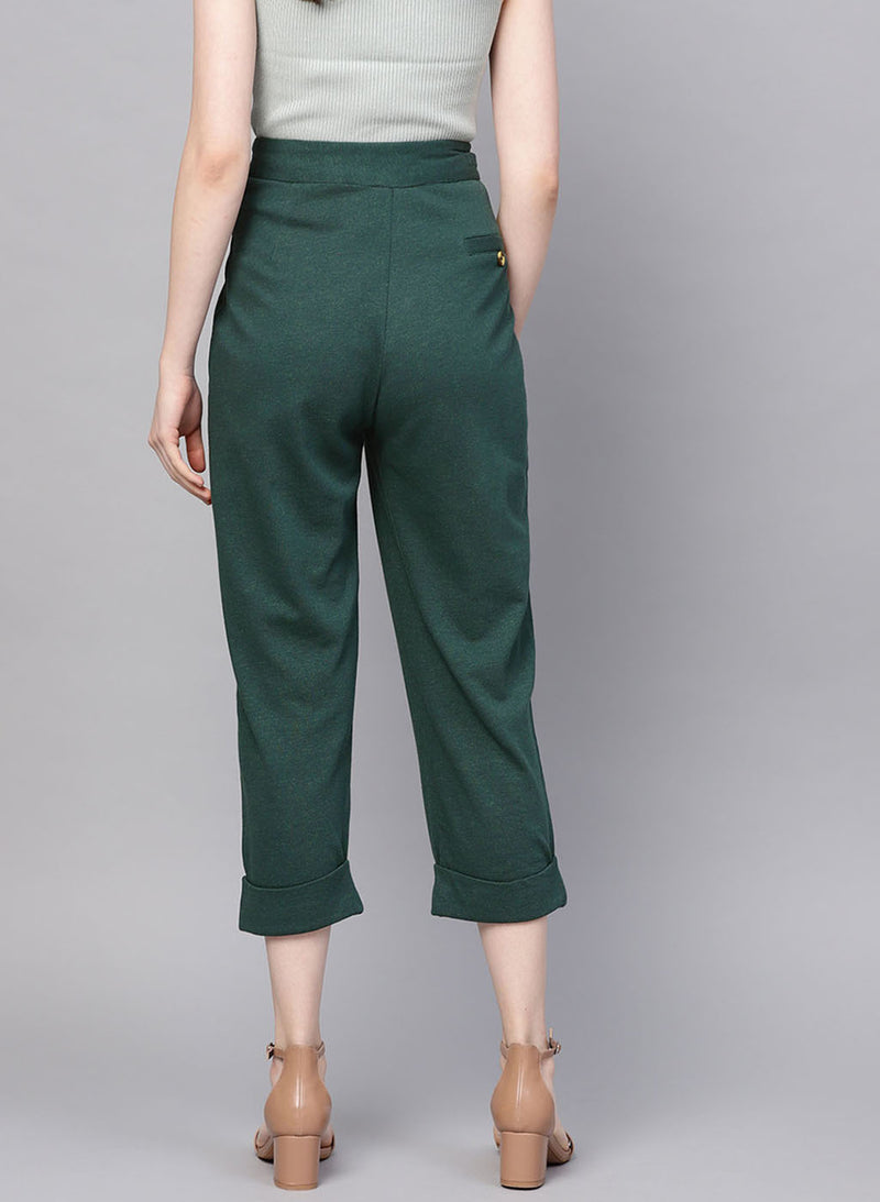 Green Colored Loose Fit Trouser
