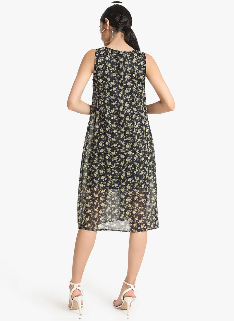 Printed Midi Dress With Overlay