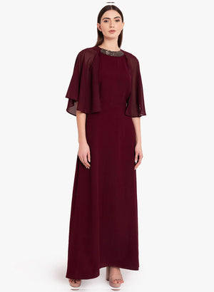 Cape Sleeve Embellished Maxi Dress (Additional 20% OFF)