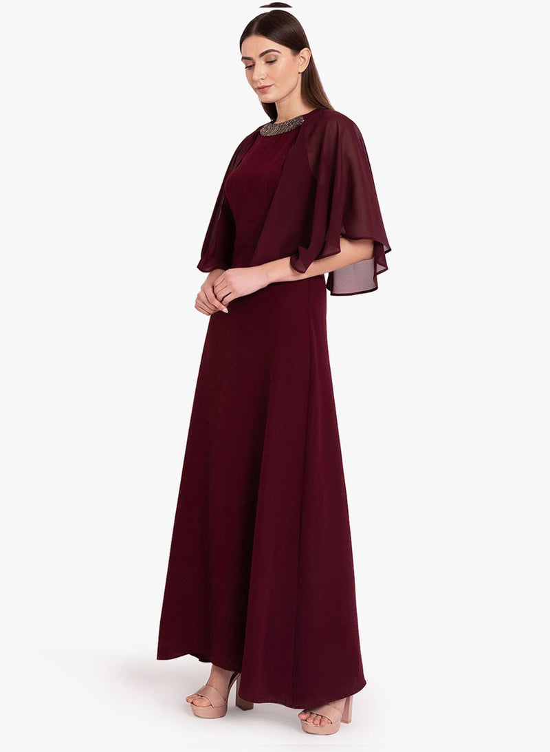 Cape Sleeve Embellished Maxi Dress