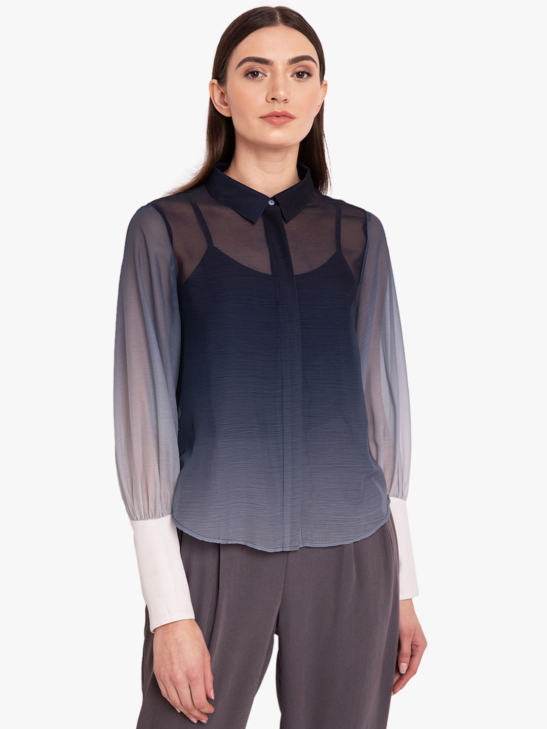 Ombre Chiffon Shirt With Exaggerated Cuff (Additional 20% OFF)