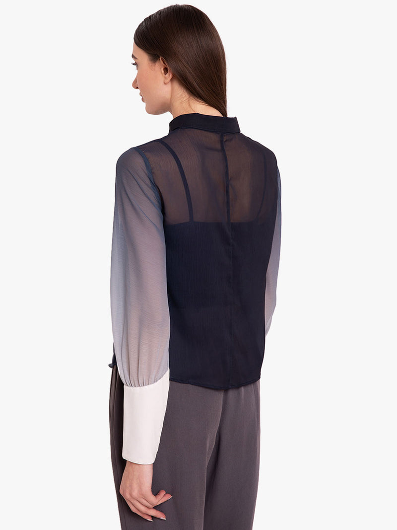 Ombre Chiffon Shirt With Exaggerated Cuff