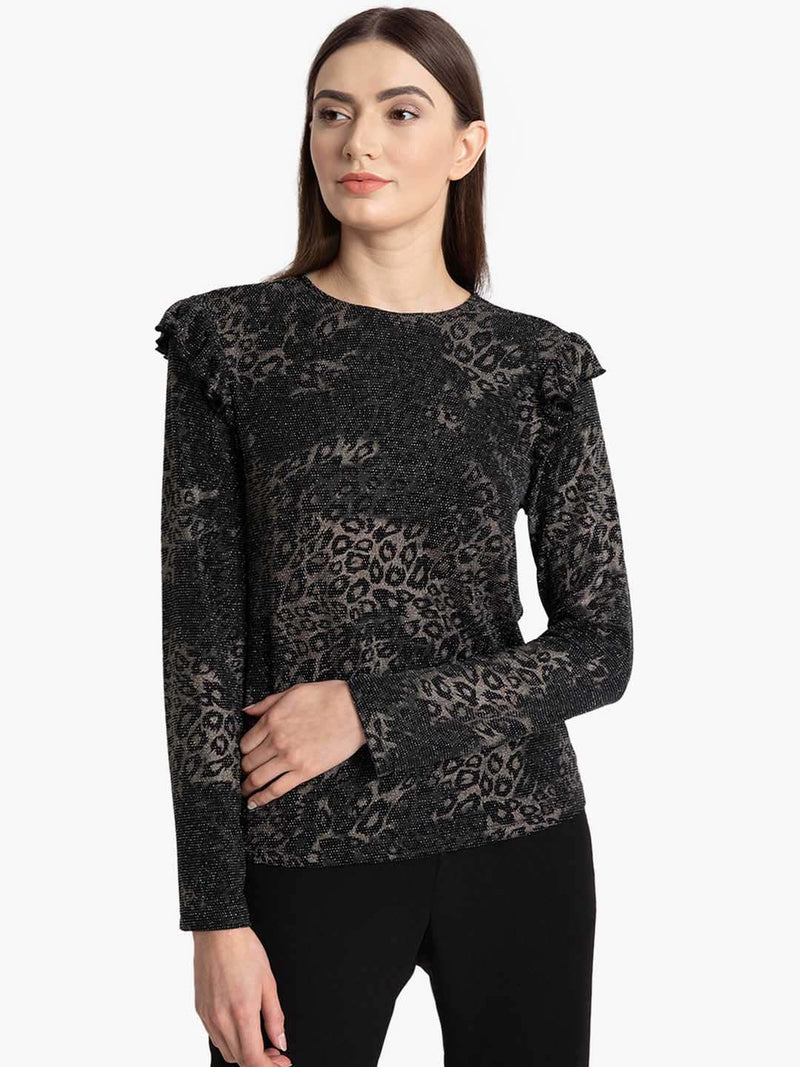 Lurex Leopord Print Full Sleeves Top (Additional 20% OFF)