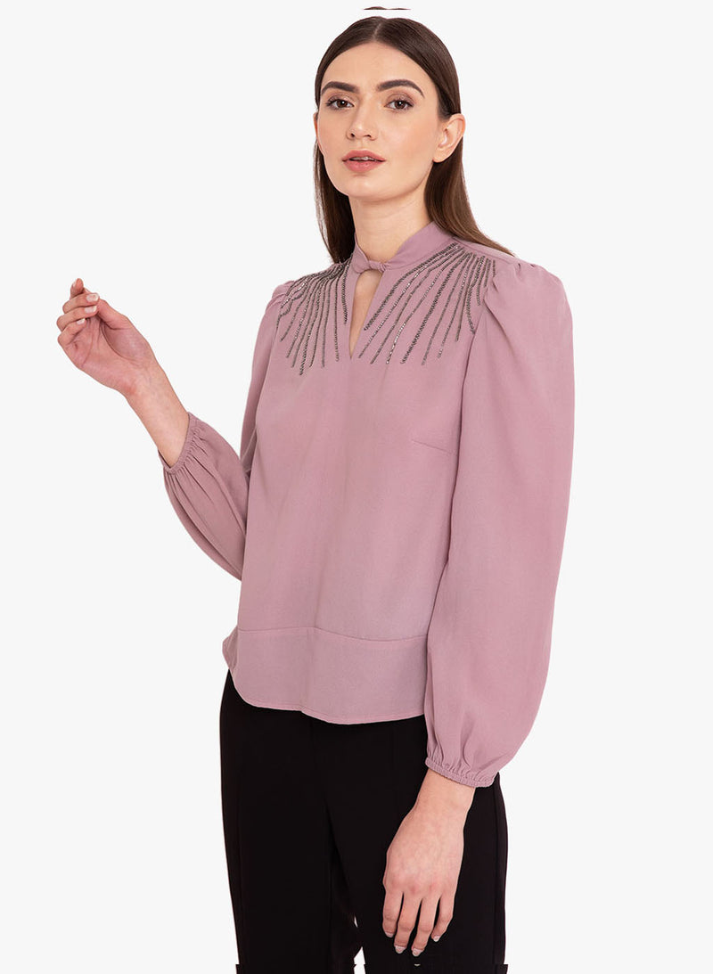 Full Sleeves Embellished Top With A Neck Band (Additional 20% OFF)