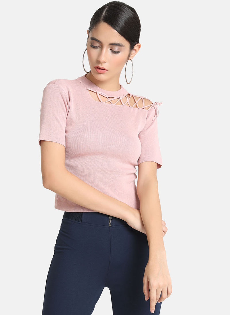 Neck Cut Out Tie Up Detail Top
