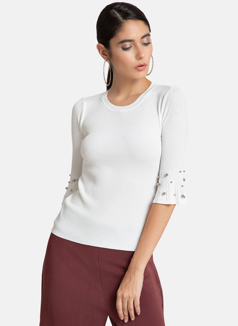 Embellished Flared Sleeves Top