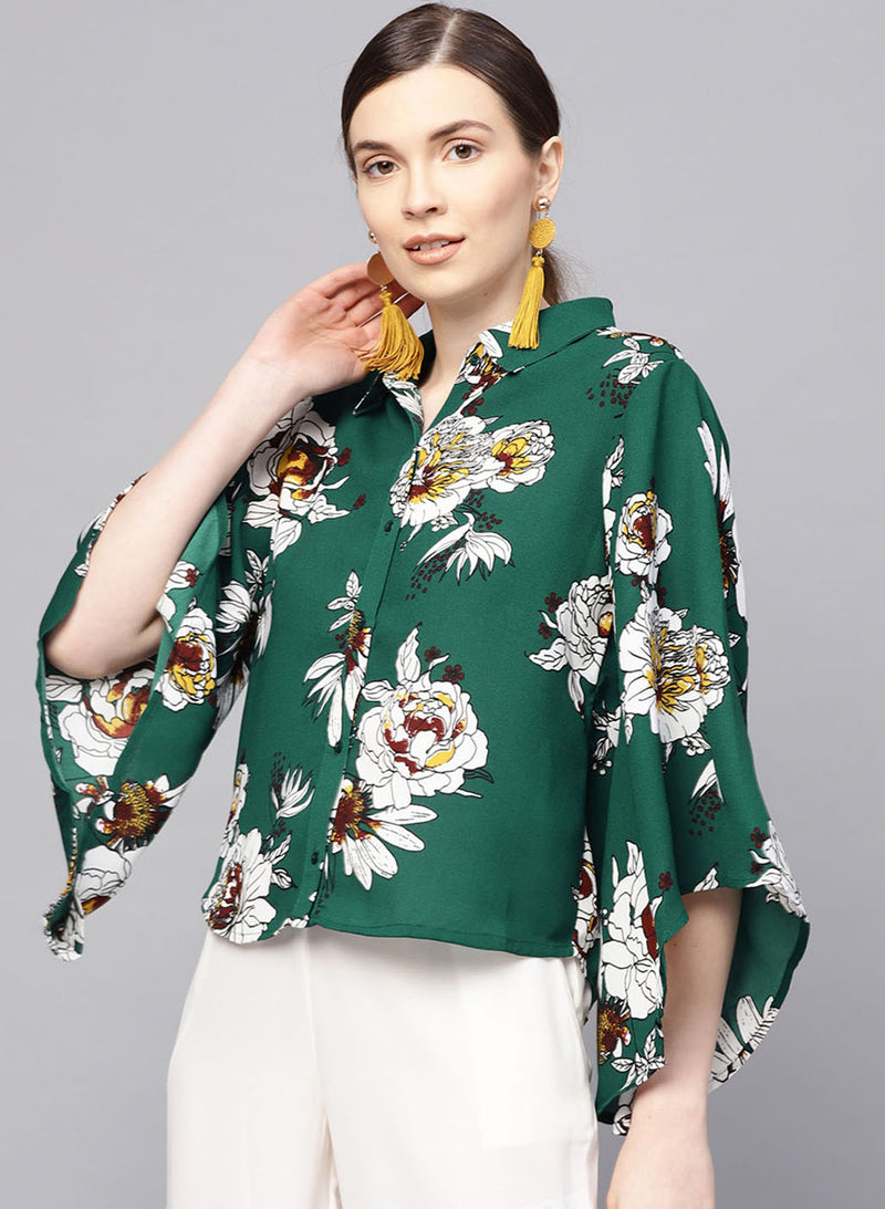 Assymetric Sleeve Printed Shirt (Additional 20% OFF)