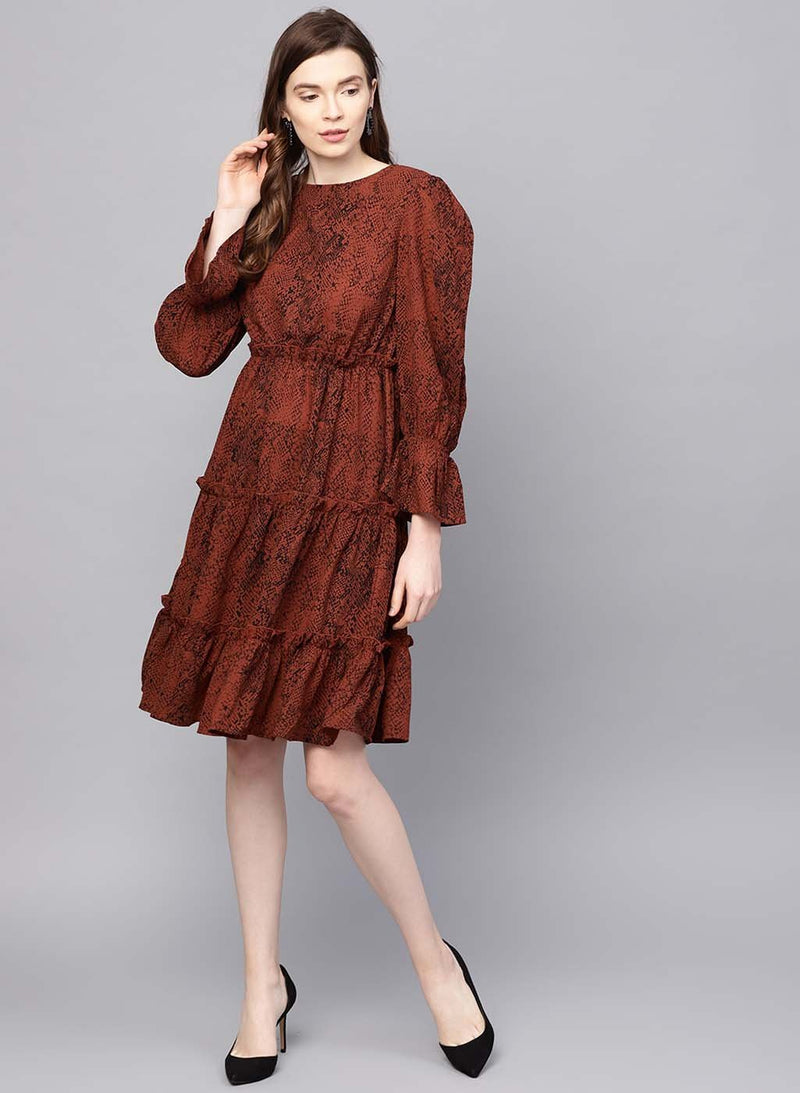 Snake Print Midi Dress With Tiers(Additional 20% on 2)