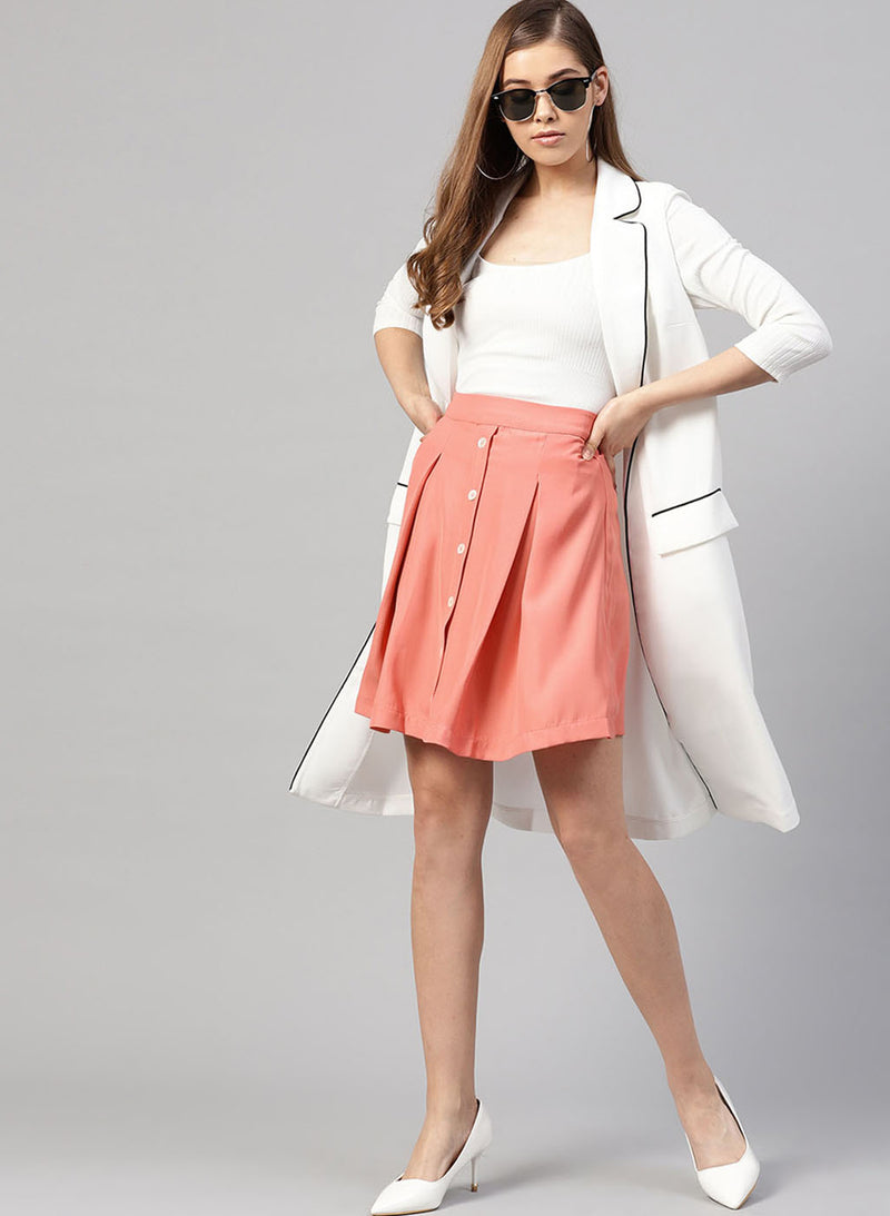 Button Detailed Pleated Skirt