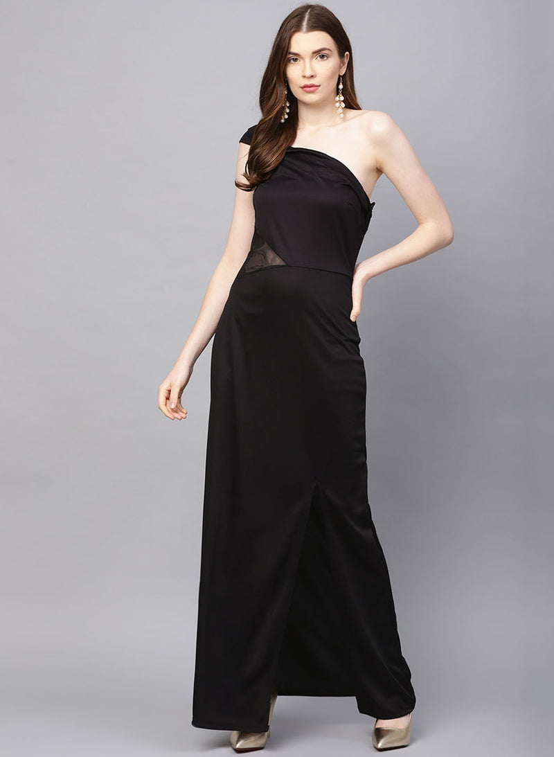 Sequin Insert Maxi With One Shoulder