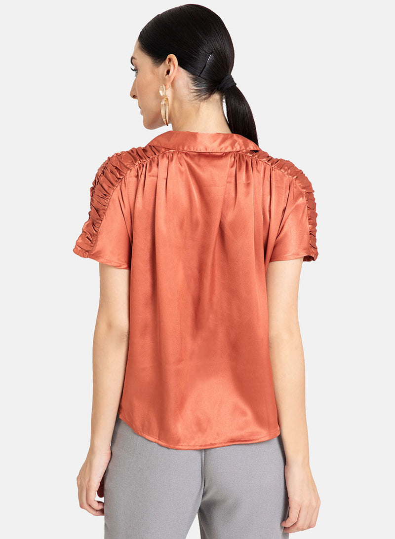 Loose Fit Shirt With Smocking Detail At The Shoulders