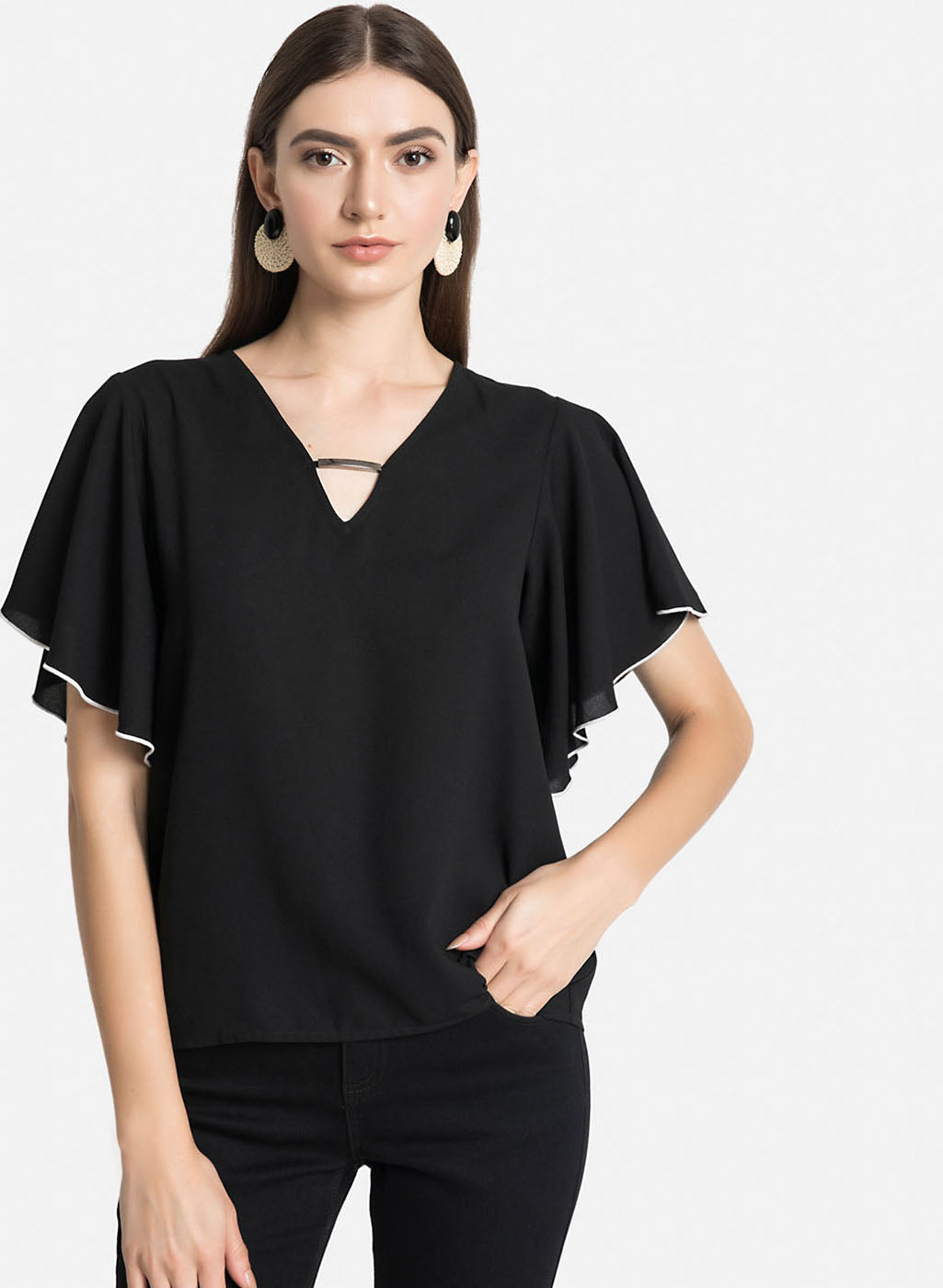 Contrast Detail At Flared Sleeves Top