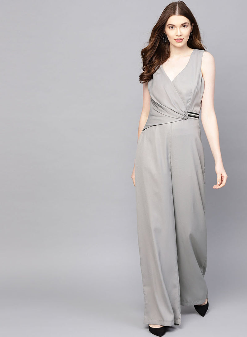 Wrap Style Jumpsuit With Embellished Tape