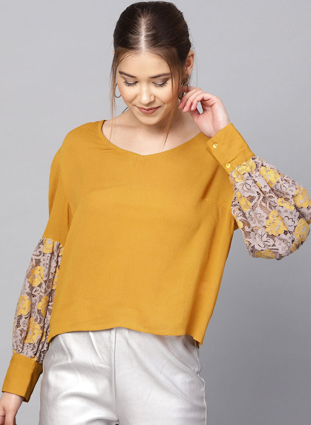 V Neck Top With Lace Insert At The Sleeves