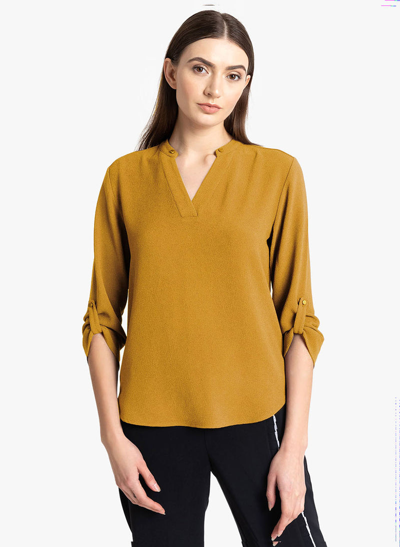 V-Neck Sleeve Turnup Top(Additional 20% on 2)