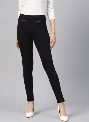 Jeggings With D-Ring Detail And Mock Pockets