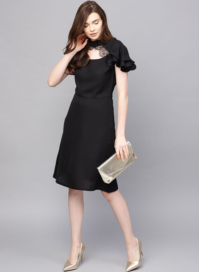Midi Dress With Lace Detail At The Neck