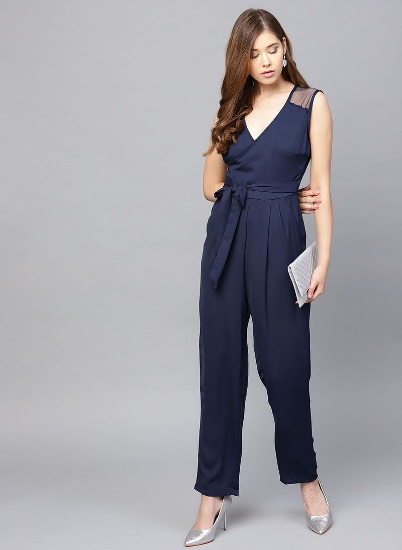 Smocking Back With Waist Tie-Up Jumpsuit