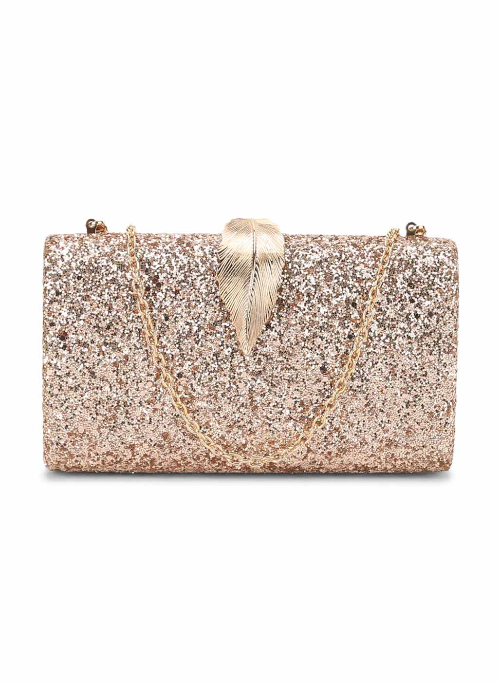 Sasha Rose Gold Glitter Clutch